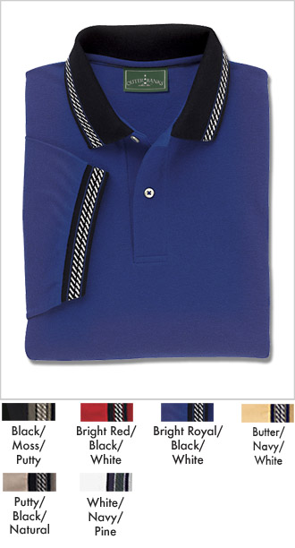 Mens Cotton Pique Jacquard Trim Polo Shirt