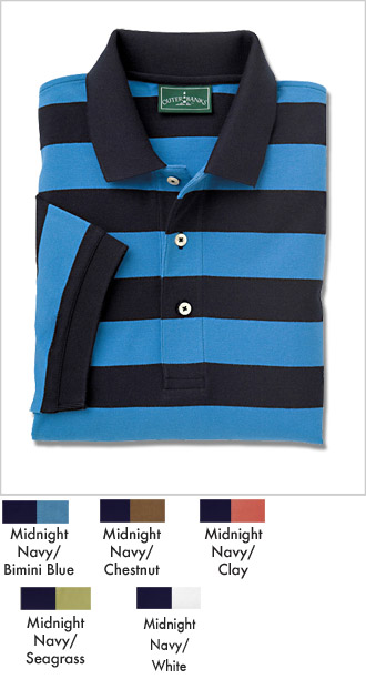 Mens Pique Rugby Striped Golf Polo Shirt