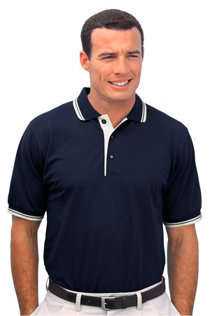 Silky Wrinkle Resistant Sport Polo Shirt with Stripe