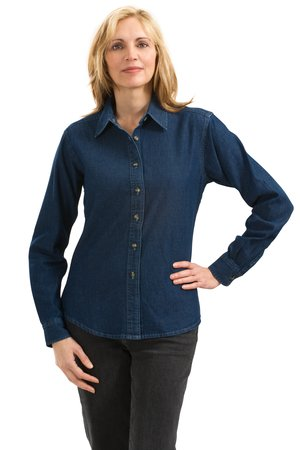 Port & Company® - Ladies Long Sleeve Value Denim Shirt. LS