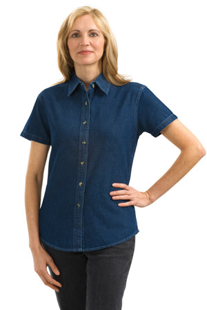 Port & Company® - Ladies Short Sleeve Value Denim Shirt. L