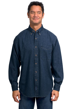 Port & Company® - Long Sleeve Value Denim Shirt. SP10.