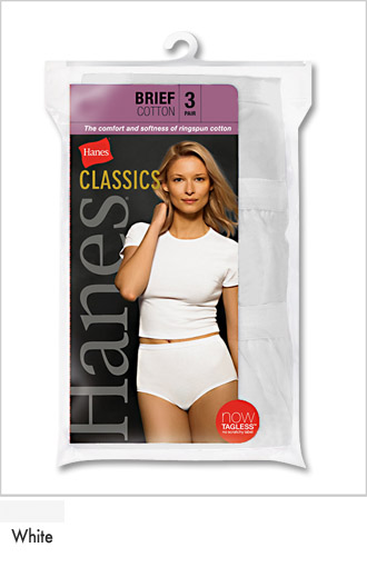 Ladies White 100% Cotton Athletic Briefs