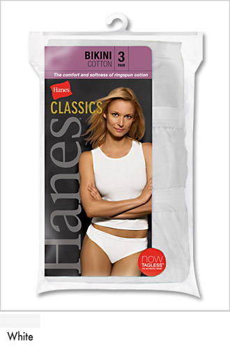 Ladies White Cotton Athletic Bikini Briefs