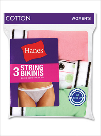 New Hanes Womens Cotton Sporty String Bikinis