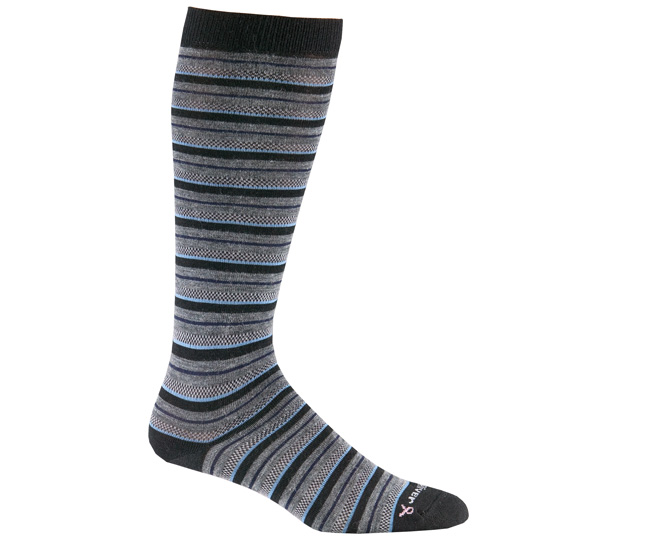 Womens Black Merino Wool Knee High Striped Socks