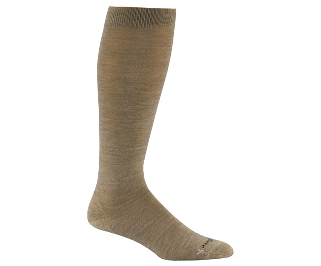 Womens Solid Tan Merino Wool Knee High Casual Socks